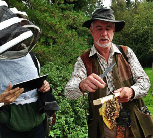 Phil Chandler (Barefoot Beekeeper) inspecting an hTBH