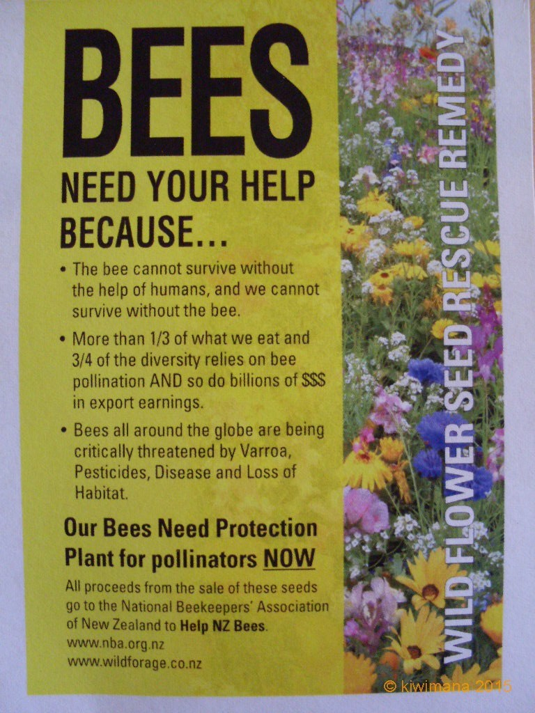 Wild Flower Seeds $5.00 NZD per packet - you can help save the Kiwi Honey Bee by purchasing and planting-up a wildflower garden bed