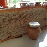 A fully capped honey frame and jar of Manuka honey